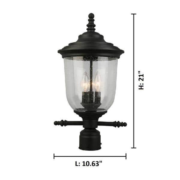 Eglo Pinedale 10 63 In W X 21 In H 3 Light Matte Black Outdoor Post Light With Clear Seeded Glass 202804a The Home Depot