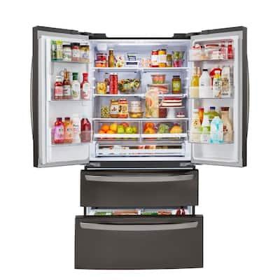 22 cu. ft. 4 Door French Door Refrigerator in PrintProof Black Stainless Steel, Counter Depth