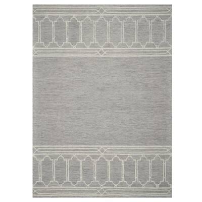 Bernadette Grey 5 ft. x 7 ft. Rectangle Geometric Wool Indoor/Outdoor Area Rug
