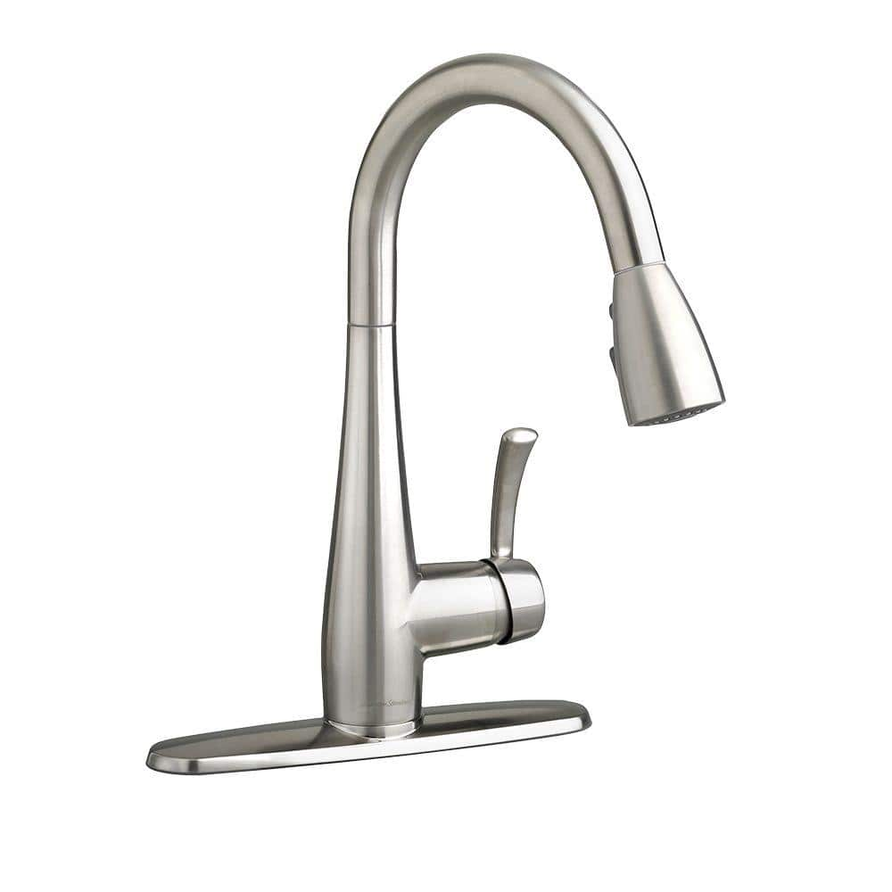 American Standard Quince Single Handle Pull Down Sprayer Kitchen Faucet In Stainless Steel 4433 300 075 The Home Depot