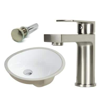 17-1/2 in. Oval Undermount Vitreous Glazed Ceramic Sink with Brushed Nickel Bathroom Faucet / Pop-up Drain Combo