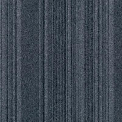 Peel and Stick First Impressions Barcode Rib Denim 24 in. x 24 in. Commercial Carpet Tile (15 Tiles/Case)