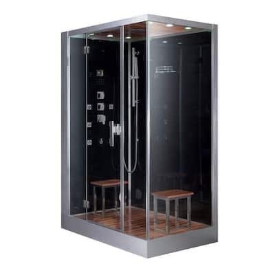 59 in. x 35.4 in. x 89.2 in. Steam Shower Enclosure Kit in Black