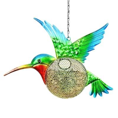 13 in. x 17 in. Metal Solar Hanging Mesh Hummingbird Bird Feeder