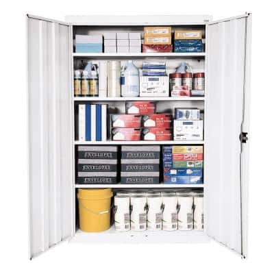 Elite Series Steel Freestanding Garage Cabinet in White (46 in. W x 78 in. H x 24 in. D)