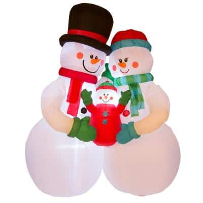 8 ft. H Lighted Inflatable Snowman Family Decor