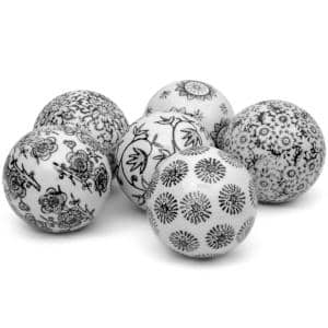 3 in. Black and White Decorative Porcelain Ball Set