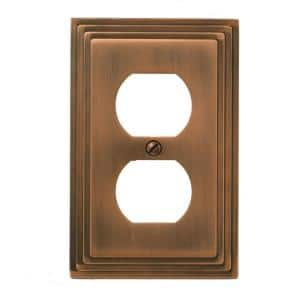 Tiered 1 Gang Duplex Metal Wall Plate - Antique Copper