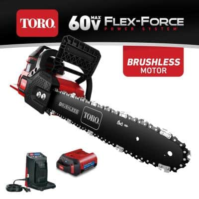 Flex-Force 16 in. 60-Volt Max Lithium-Ion Battery Electric Cordless Chainsaw, 2.5 Ah Battery and Charger Included