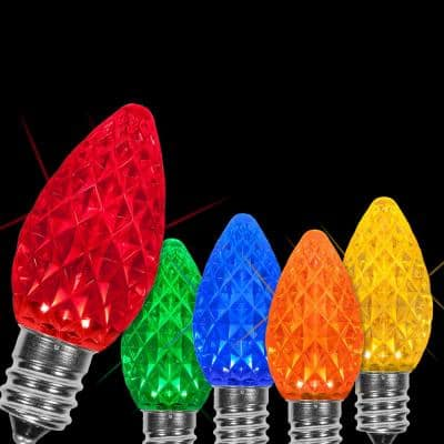 OptiCore C7 LED Multi-Color Faceted Christmas Light Bulbs (25-Pack)