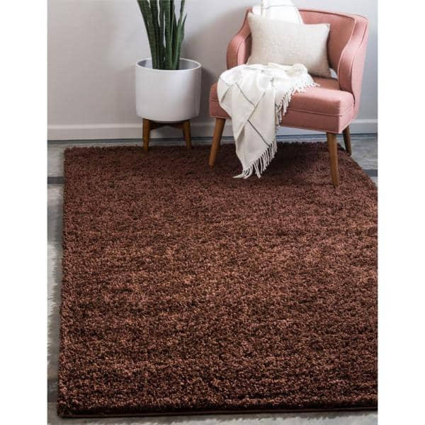 Unique Loom Solid Shag Chocolate Brown 7 Ft X 10 Ft Area Rug 3126287 The Home Depot