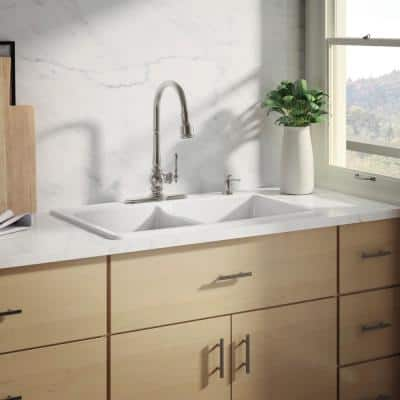 Brookfield Drop-In Cast-Iron 33 in. 4-Hole Double Bowl Kitchen Sink with Artifacts Faucet in White