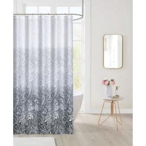 Printed Waffle 70 in. x 72 in. 13-Piece Shower Curtain Set in Paisley Ombre