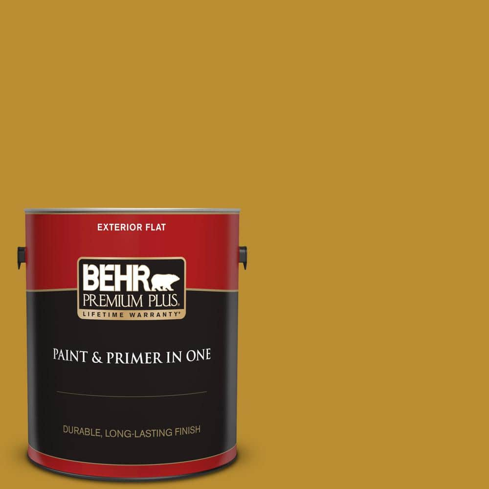 Behr Premium Plus 1 Gal 360d 7 Brown Mustard Flat Exterior Paint And Primer In One 430001 The Home Depot