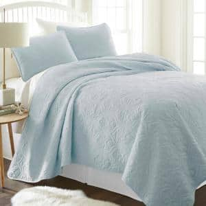 Damask Pale Blue Microfiber King Performance Quilted Coverlet Set