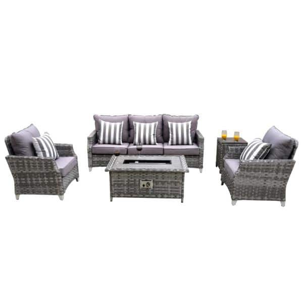 Moda Furnishings Grice 5 Piece Wicker Patio Conversation Set With Gas Fire Pit Table And Gray Cushions Mof 1802 The Home Depot
