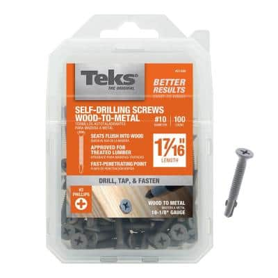 #10 x 1-7/16 in. Philips Flat Head Self Tapping with Wings Screws (100-Pack)