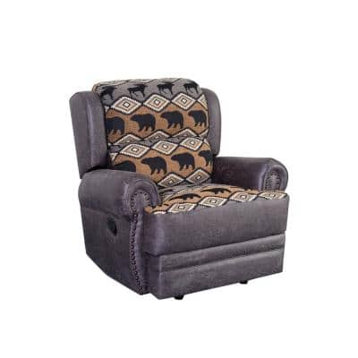 Hunter Gray Leather Look Wildlife Pattern With Nailhead Trim Recliner