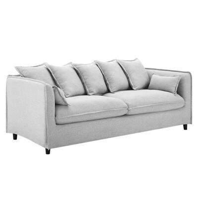 Avalon 75 in. Light Gray Slipcover Velvet 3-Seats Sofa with Dense Foam Padding
