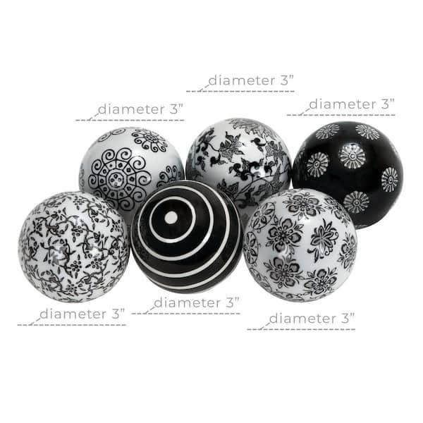 Litton Lane Black Ceramic Traditional Orbs And Vase Filler Set Of 6 40777 The Home Depot