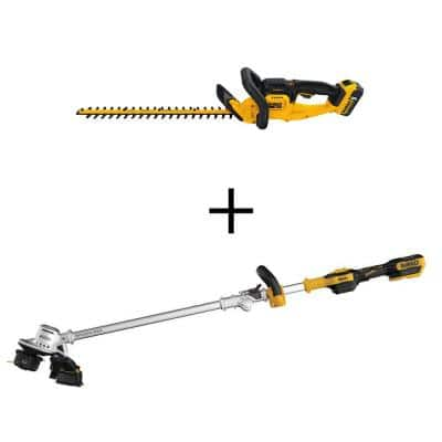 22 in. 20-Volt MAX Lithium-Ion Cordless Hedge Trimmer Kit with 20-Volt Cordless Brushless String Trimmer (Tool Only)