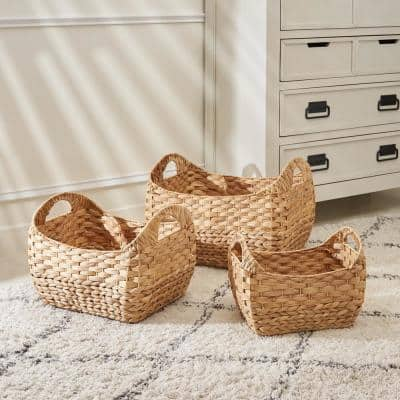 Amelia Stackable Rectangular Hand-Woven Water Hyacinth Picnic and Grocery Decorative Basket Set