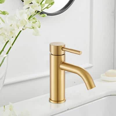 Modern Single Hole Single-Handle Bathroom Faucet with Drains in Brush Gold