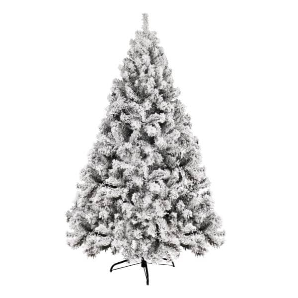 VEIKOUS 6 ft. Unlit Christmas Artificial Pine Tree Snow Flocked Christmas Tree Holiday Decor | The Home Depot
