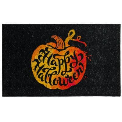 Speckled Pumpkin Black 2 ft. 6 in. x 4 ft. 2 in. Halloween Indoor Area Rug