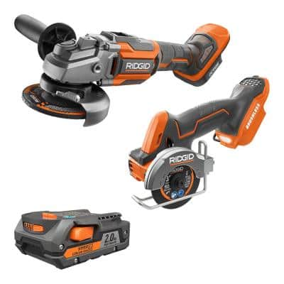 RIDGID 18V Brushless Cordless 2-Tool Combo Kit w/ OCTANE Angle Grinder, SubCompact 3 in. Multi-Material Saw, & 2.0 Ah Battery