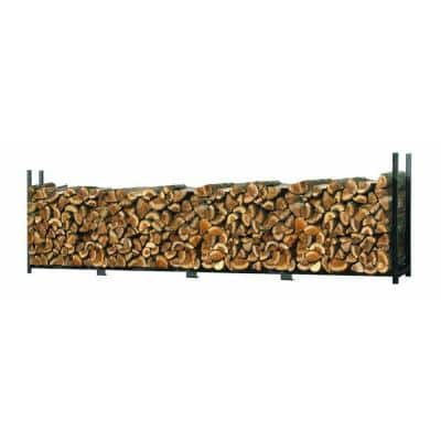 16 ft. D x 4 ft. H x 1 ft. W Ultra-Duty Steel Firewood Rack with Premium Wood Rack and Adjustable Hinge Design