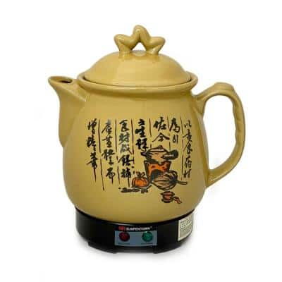 14.3-Cup Brown Ceramic Electric Kettle with Keep Warm Setting
