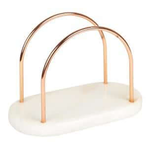 Natural Off-White Marble and Iron Wire Napkin Holder with Copper Finish for Kitchen Dinning Table Decoration
