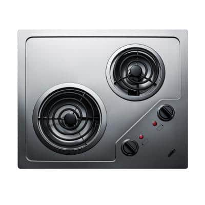 21 in. 115-Volt Coil Electric Cooktop in Stainless Steel with 2 Elements
