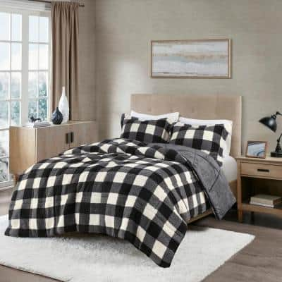 Mason Extra Warmth 3-piece Ivory/Black King Print Sherpa Down Alternative Comforter Set