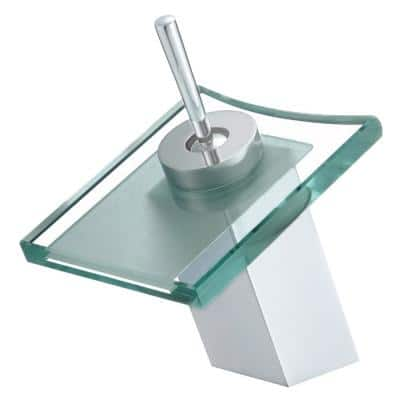 Monroe Single-Handle Waterfall Single Hole Bathroom Faucet with Clear Square Glass Disk in Chrome