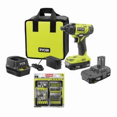 ONE+ 18V Cordless 1/4 in. Impact Driver Kit with (2) 1.5 Ah Batteries, Charger, and Bag, with Driving Kit (70-Piece)