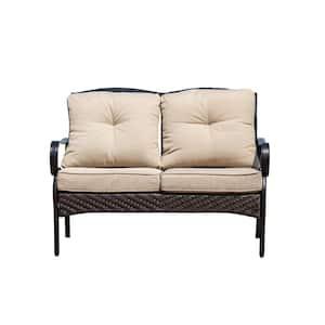 Deer Black 1-Piece Steel Outdoor Loveseat with Beige Cushions