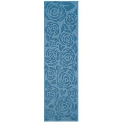 Martha Stewart Thistle Blue 2 ft. x 8 ft. Geometric Runner Rug