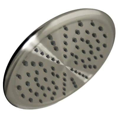 Rain 1-Spray 2.0 GPM 8 in. Single Wall Mount Fixed Round Shower Head in Brushed Nickel