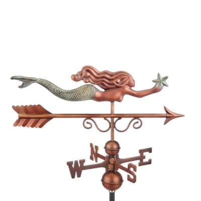 Pure Copper Hand Finished Patina Little Mermaid Weathervane
