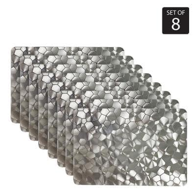 Water Cube Metallic 12 in. x 18 in. Silver/Grays Vinyl Rectangle Placemats (Set of 8)