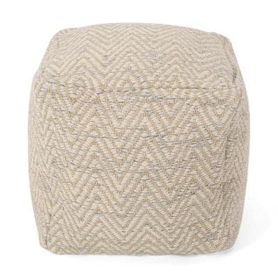 Batcher Natural and Light Blue Fabric Cube Pouf