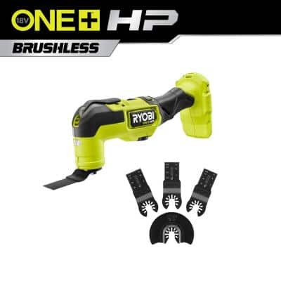 RYOBI ONE+ HP 18-Volt Brushless Cordless Multi-Tool (Tool Only) with 4-Piece Wood Oscillating Multi-Tool Blade Set