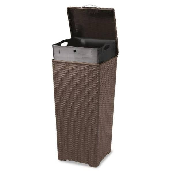 Keter 30 Gal Brown Wicker Style Plastic Trash Can 231478 The Home Depot