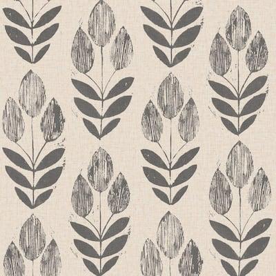 Scandinavian Black Block Print Tulip Black Wallpaper Sample
