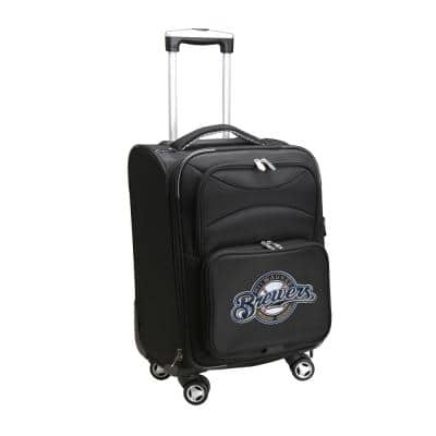 MLB Milwaukee Brewers 21 in. Black Carry-On Spinner Softside Suitcase