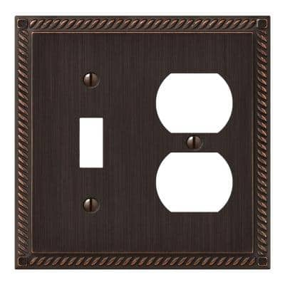 Georgian 2 Gang 1-Toggle and 1-Duplex Metal Wall Plate - Tumbled Aged Bronze