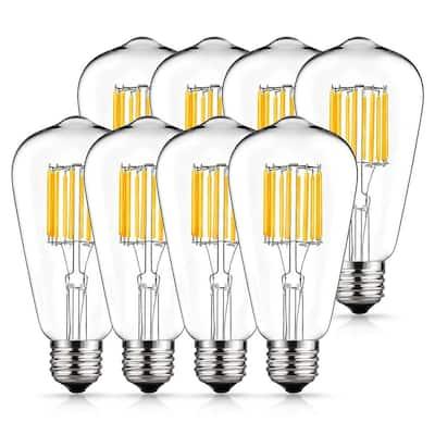 100-Watt Equivalent ST64 E26 Edison LED Light Bulb in Warm White (8-Pack)