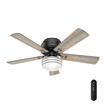 Cedar Key 52 in. Indoor/Outdoor Matte Black Low Profile Ceiling Fan with Light Kit and Handheld Remote Control